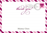 Pink Heart Stamp -  Personalised Baby Thank You Cards