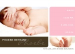 Miss Modern Squares - Baby Girl Announcement Cards