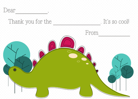 Kids Thank You Cards, Dino Love Design