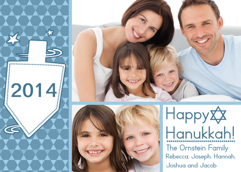 Personalized Holiday Cards, Blue Hanukkah Blessings Design