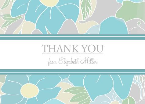 Thank You Cards for Women, Aqua Petals Design