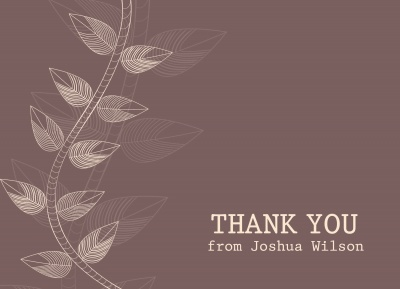 Thank You Cards For Men, Classic Branch Design