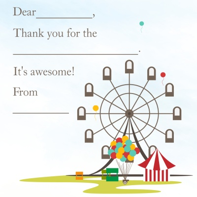 Kids Thank You Cards, Carnival Fun Design