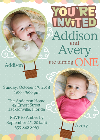 Kids Birthday Invitations, Up Up 'n Away! Design