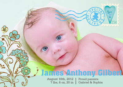 Birth Announcements, Beary Blue Stamp Design