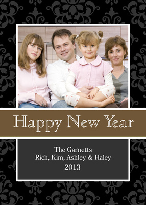 Personalized Holiday Cards, Gold Band New Year Design
