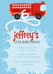 Boy Birthday Party Invitations - Fire Truck Fun