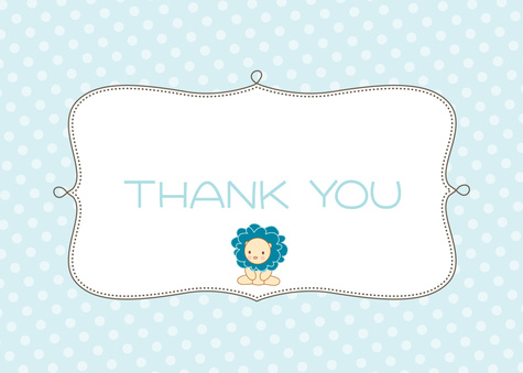 Thank You Cards for Women, Blue Baby Frill Design