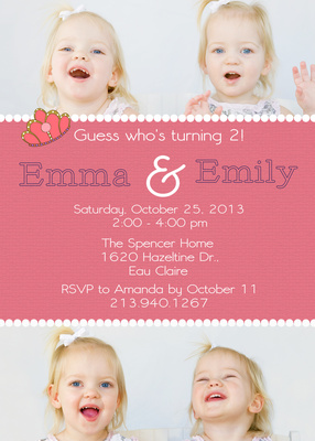 Kids Birthday Invitations, Twin Birthday Queens Design