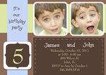 Birthday Invitations - Two Blue Party Ribbons