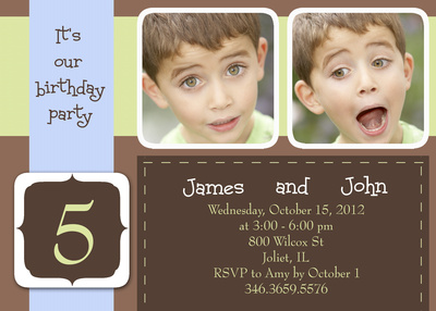 Kids Birthday Invitations, Two Blue Party Ribbons Design