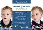 Photo Twin Birthday Invitatio - Peppy Party Boys