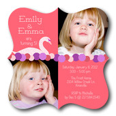 Photo Birthday Party Invitations - Double Sweet Swan Party