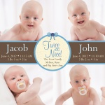 Twin Photo Birth Announcements - Double Blue Ribbon