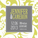 Lime Damask Date -  Save the Date Cards for Wedding