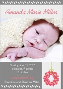 Birth Announcements for Girls - Peony Wreath