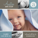 Infant Boy Birth Card  - Sky Blue Love