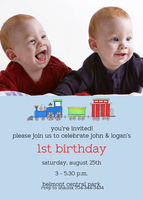 Twin Birthday Party Invitations - The Twin Train
