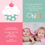 Twin Photo Birthday Party Invitations - Double Icing Pink