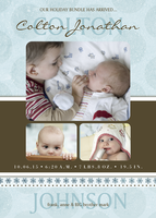 Infant Holiday Birth Card  - Bundle Up Blue