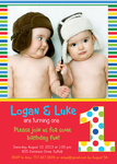Twin Birthday Party Invitations - Super Stripe Boys