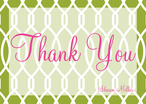 Thank You Cards for Women, Grass Trellis Design