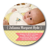 Infant Girl Birth Card - Swiss Dot Lady