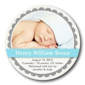 Boy Birth Announcements - Baby Blue Linen