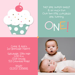 Double Icing Pink -  Twin Birthday Invitations