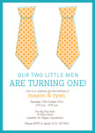Little Misters - Twin Party Invitations