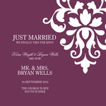 Burgandy Blossom-Share your nuptial news with beautiful Wedding Announcements from Simply to Impress! Choose from our wide variety of designs today.