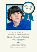 Sapphire Ribbon -  Photo Graduation Invitations