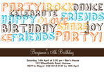 Party Letters Brown - Teenage Party Invitations