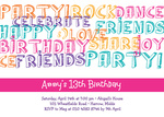 Party Letters Pink - Teenage Party Invitations