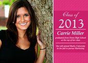 Collegiate Pink - Photo Graduation Announcements
