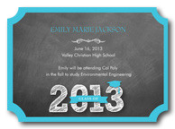Photo Graduation Invitations - Chalkboard Blue Grad