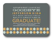 Graduation Invitation Cards - Argyle Band Invite