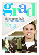 Bright Blues Grad -  Photo Graduation Invitations