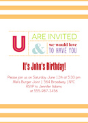 Adult Birthday Invitations - Glo Stripe