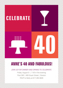 Fab Treats -  Adult Birthday Party Invitations