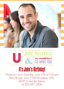 Adult Birthday Invitations - Orange Glo