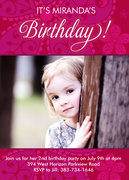 Birthday Invitations for Kids - Fuschia Flower