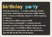 Party Definitions - Adult Birthday Invitations