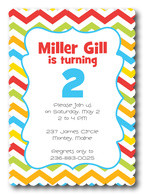 Cheery Chevrons - Photo Birthday Invitations