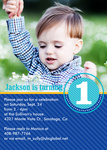 Boy Photo Birthday Party Invitations - Ocean Stripe