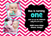 Photo Birthday Invitations - Up 'n Down Pink