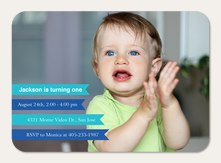 Photo Boy Birthday Invitations - Blue Banners