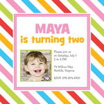 Girl Birthday Party Invitations - Candy Stripe