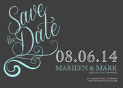 Save the Date Photo Cards - Blue Damask Date