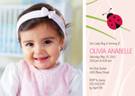 Photo Girl Birthday Invitations - Ladybug Leaf